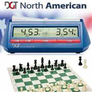 Chess Set and DGT North Americian Clock